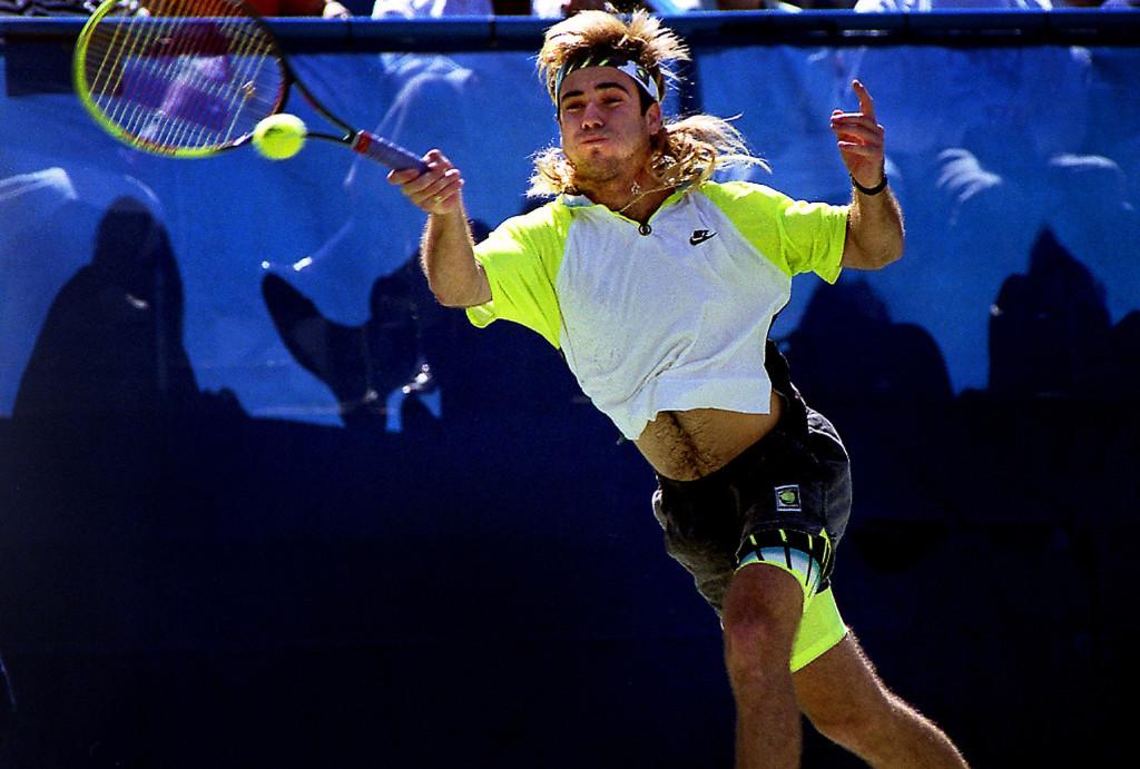 Andre Agassi lors de l'US Open 1990 (Crédit Thomas E. Franklin)