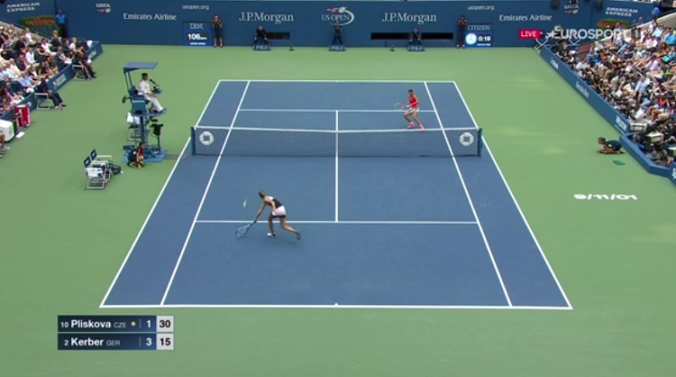 Le plus beau point de la finale de l'US Open 2016 entre Angelique Kerber et Karolina Pliskova.