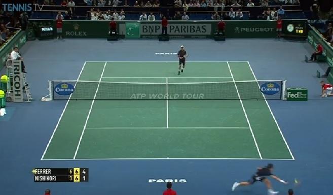 David Ferrer s'arrache sur ce point face à Kei Nishikori.
