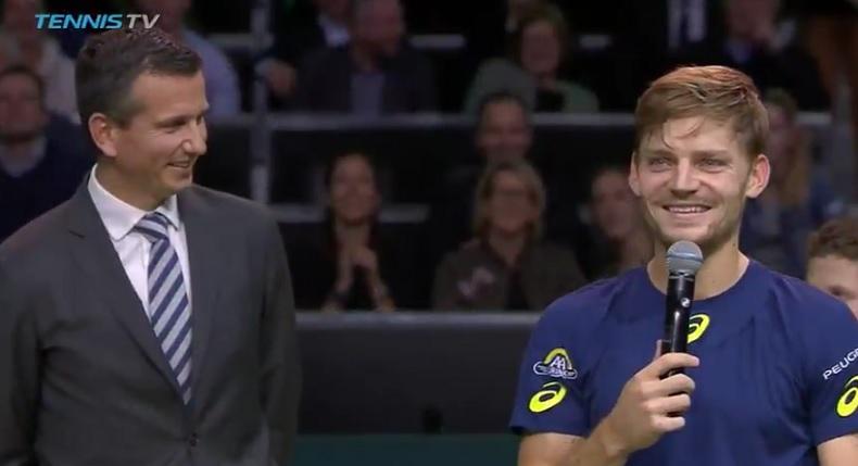 """David Goffin : """"Je voudrais remercier mon équipe, ma famille, mes petites amies… Désolé, ma petite amie"""" (Rotterdam 2017)"""