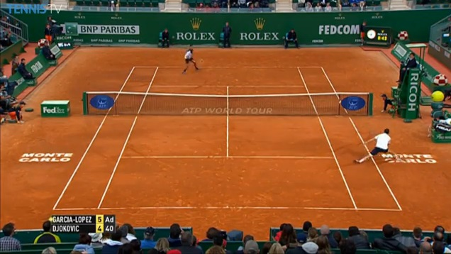 Novak Djokovic sauve une balle de set contre Guillermo Garcia-Lopez sur un point énorme à Monte-Carlo.