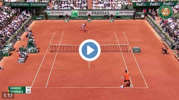 Un rallye de 39 frappes dès le premier jeu de la finale entre Djokovic et Wawrinka à Roland Garros.