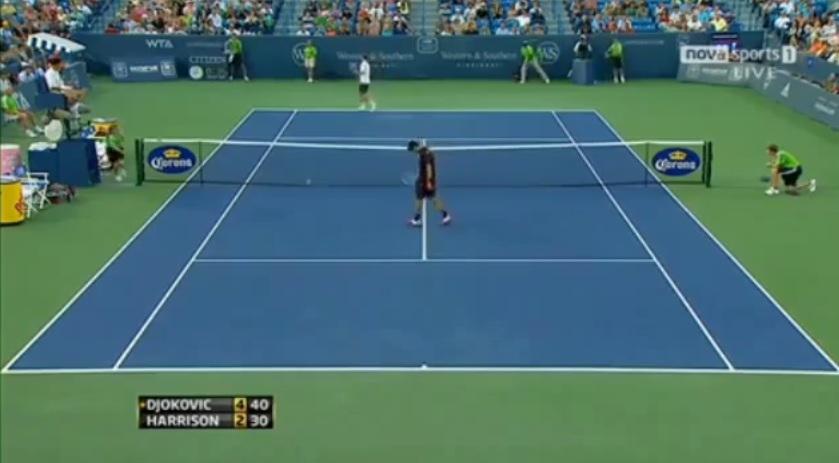 Une volée absolument horrible de Novak Djokovic au Masters 1000 de Cincinnati 2011.