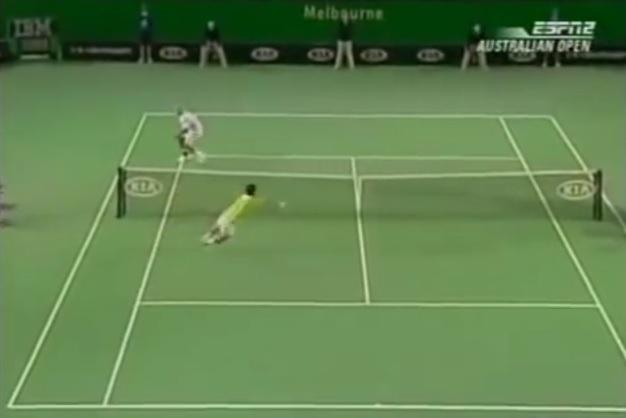 Un point avec sept volées entre Roger Federer et Tommy Haas à l'Open d'Australie 2006.