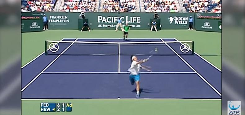 Federer et Hewitt jouent un des plus beaux points de l'histoire (Indian Wells 2005)