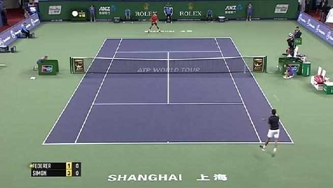 Gilles Simon lâche un coup de fusil en finale du Masters 1000 de Shanghai 2014.
