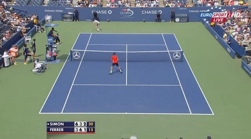 Un passing énorme de Gilles Simon contre David Ferrer à l'US Open 2014.