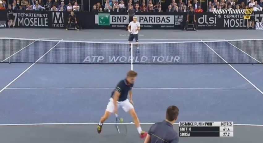 Le plus beau point du match entre David Goffin et Joao Sousa en finale du tournoi de Metz 2014.
