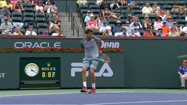 Le coup dans le dos de Grigor Dimitrov à Indian Wells.