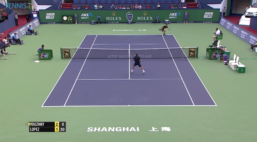 Encore un point énorme de Feliciano Lopez contre Mikhail Youzhny au Masters 1000 de Shanghai 2014.