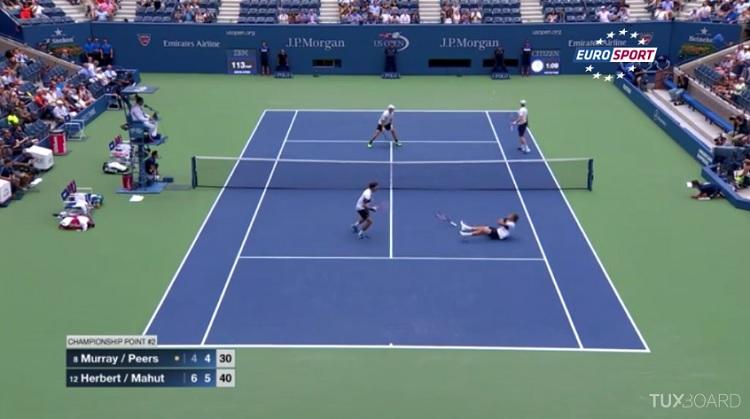 Nicolas Mahut et Pierre-Hugues Herbert remportent l'US Open 2015 sur un point de fou.