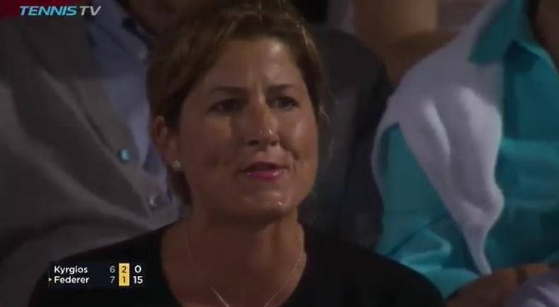 Mirka Federer siffle Nick Kyrgios (Miami 2017)