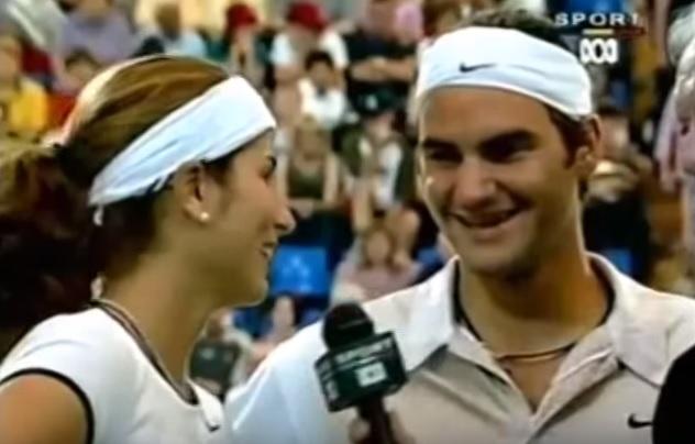 Mirka Vavrinec et Roger Federer à la Hopman Cup 2002.