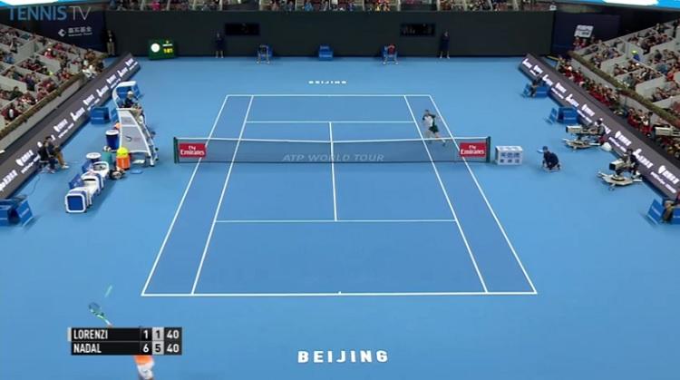 Le passing énorme de Rafa Nadal pour se procurer une balle de match.