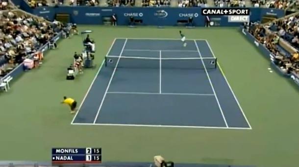 Un point exceptionnel entre Rafael Nadal et Gaël Monfils à l'US Open 2009.