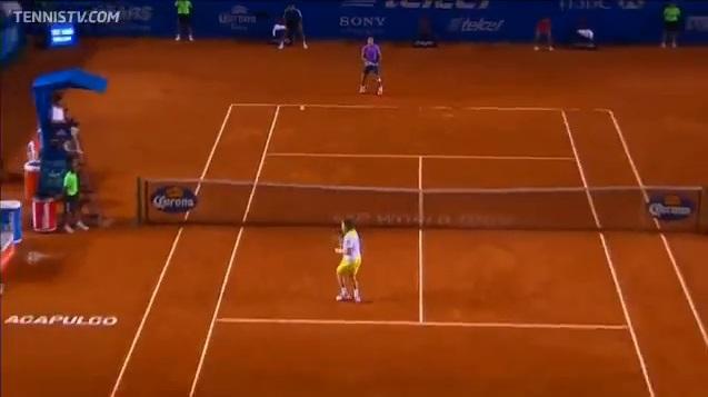 La balle passe au-dessus de sa tête et David Ferrer sait déjà qu'il est battu.