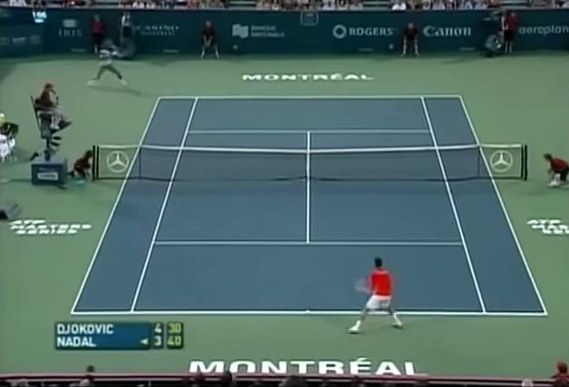 Un revers surpuissant de Rafael Nadal au Masters Series de Montréal 2007.