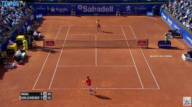 Rafa Nadal en mode rouleau compresseur sur ce rallye.