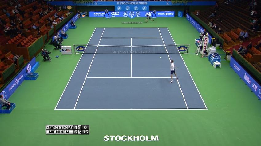 Quelle défense et quel point de Jarkko Nieminen au premier tour du tournoi de Stockholm 2014.