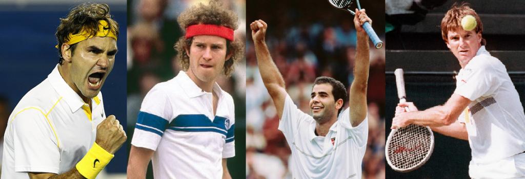 Roger Federer, John McEnroe, Pete Sampras et Jimmy Connors (DR).