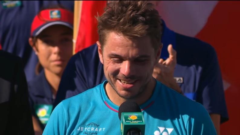 """Stan Wawrinka à Roger Federer : """"Il rigole, c'est un enfoiré"""" (Cérémonie Indian Wells 2017)"""