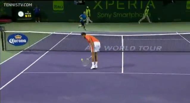 Une demi-volée parfaite de Jo-Wilfried Tsonga contre Rafael Nadal à Miami en 2012.