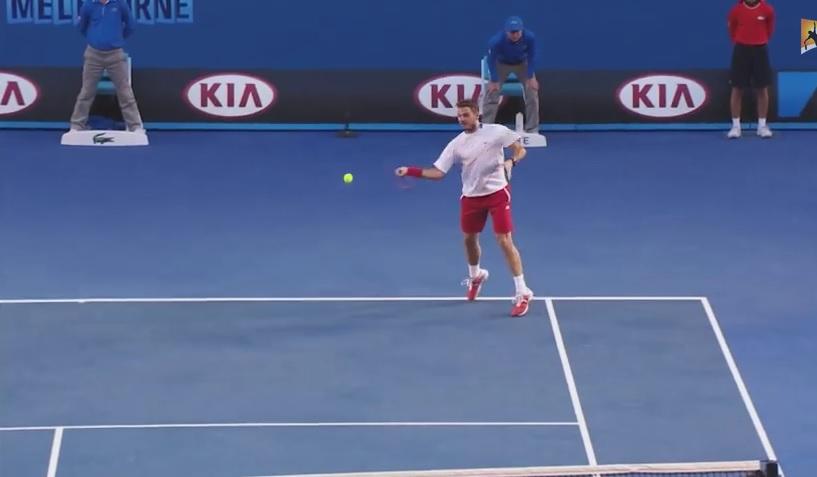 Stanislas Wawrinka sur un nuage en finale de l'Open d'Australie 2014 contre Rafael Nadal.
