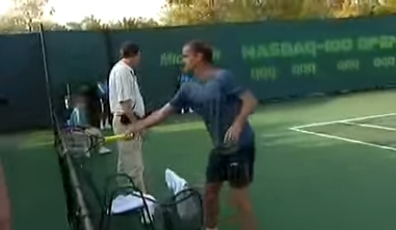Xavier Malisse pète un plomb au Masters Series de Miami 2005.