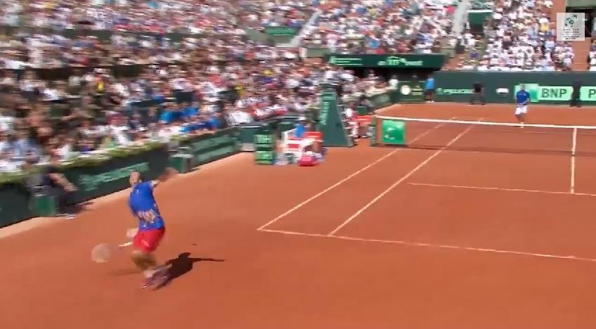 Radek Stepanek s'apprête à réussir un joli smash dos au filet en demi-finales de la Coupe Davis 2014.