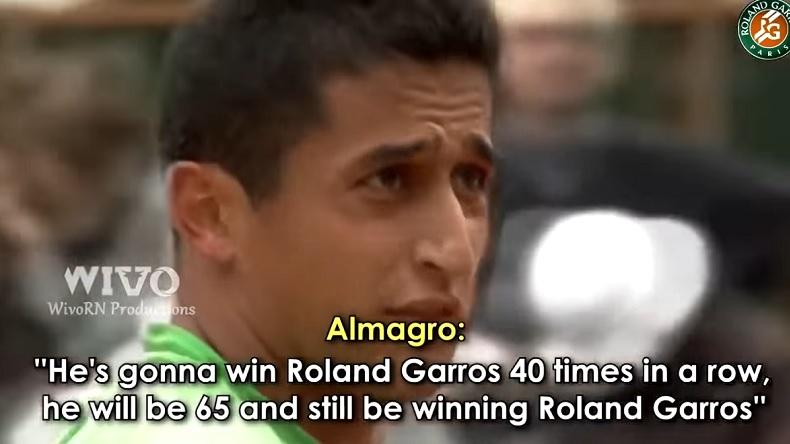 Découpé par Rafael Nadal en quarts de finale de Roland-Garros 2008, Nicolas Almagro avait lâché une phrase amusante en plein match.