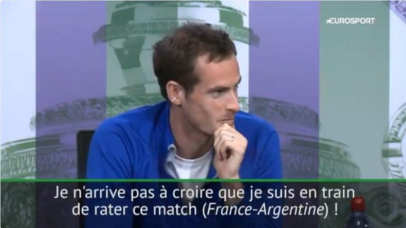 Coincé en conférence de presse à Wimbledon, Andy Murray était dégoûté de rater France – Argentine.