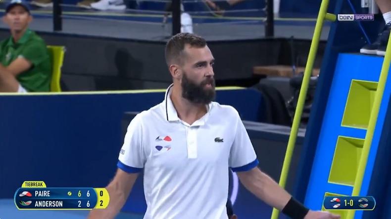 Benoît Paire insulte un spectateur pendant son match à l'ATP Cup 2020.