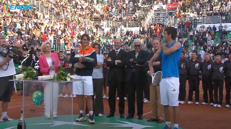 Lors de la remise des prix du Masters de Rome en 2009, Novak Djokovic avait fait le show en imitant Rafael Nadal.