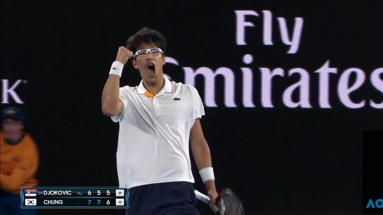 Hyeon Chung a battu son idole Novak Djokovic à l'Open d'Australie 2018. Et avec la manière !