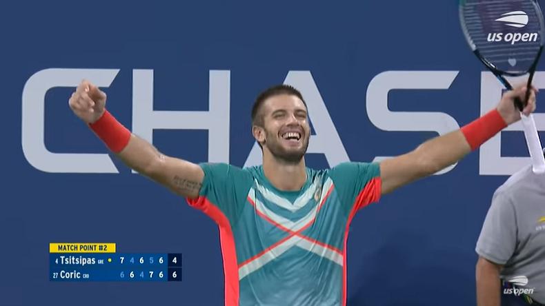Borna Coric a sauvé 6 balles de match contre Stefanos Tsitsipas à l'US Open 2020.