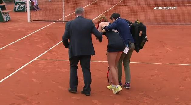 Alizé Cornet était mal en point dans le troisième set mais elle va finir par s'imposer.