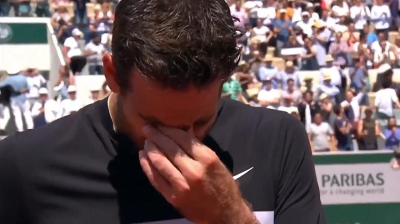 L'émotion de Del Potro au micro de Fabrice Santoro, après sa victoire en quarts de finale à Roland-Garros 2018.