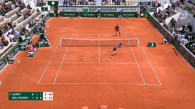 Un point champagne entre Del Potro et Jarry à Roland-Garros.