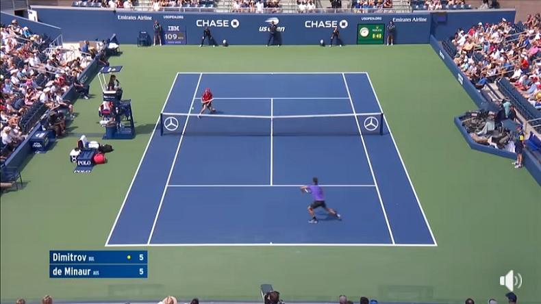 Un point de malade entre Dimitrov et De Minaur à l'US Open 2019.