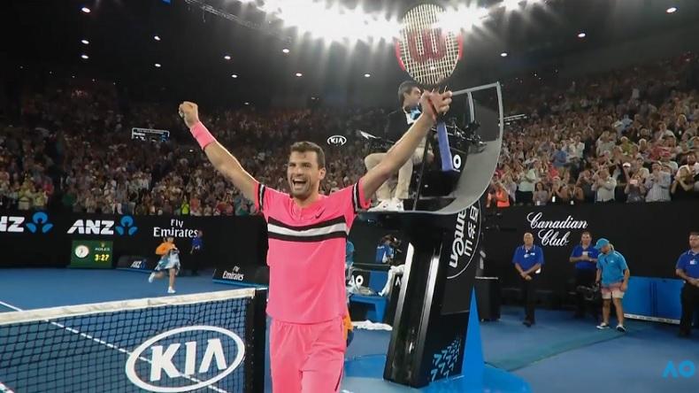 Grigor Dimitrov, heureux, après sa victoire sur Nick Kyrgios à l'Open d'Australie 2018.