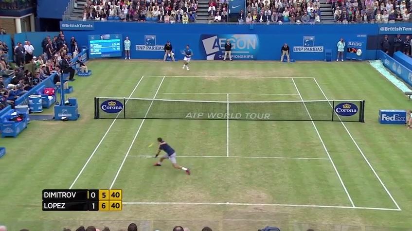 Grigor Dimitrov effectue une volée somptueuse en finale du tournoi du Queen's 2014.