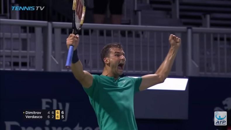 La joie de Dimitrov après une balle de match énorme contre Verdasco au tie-break du troisième à Toronto.