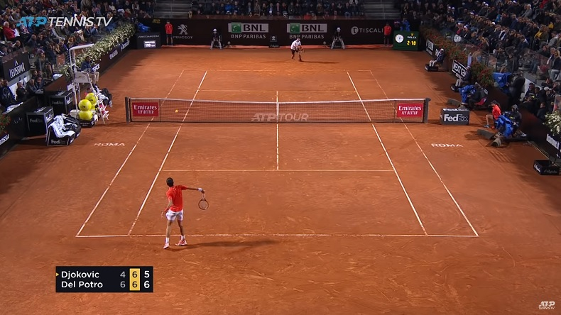 Un match exceptionnel entre Djokovic et Del Potro en quarts de finale du Masters de Rome 2019.