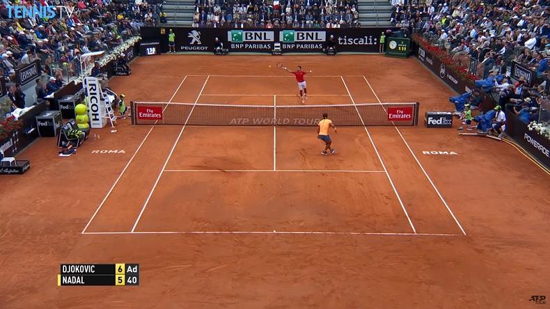 Une balle de set monumentale entre Djokovic et Nadal en finale du Masters de Rome 2016.