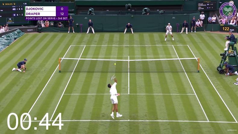 Un jeu expéditif de Novak Djokovic en 46 secondes avec 4 aces au premier tour de Wimbledon 2021.