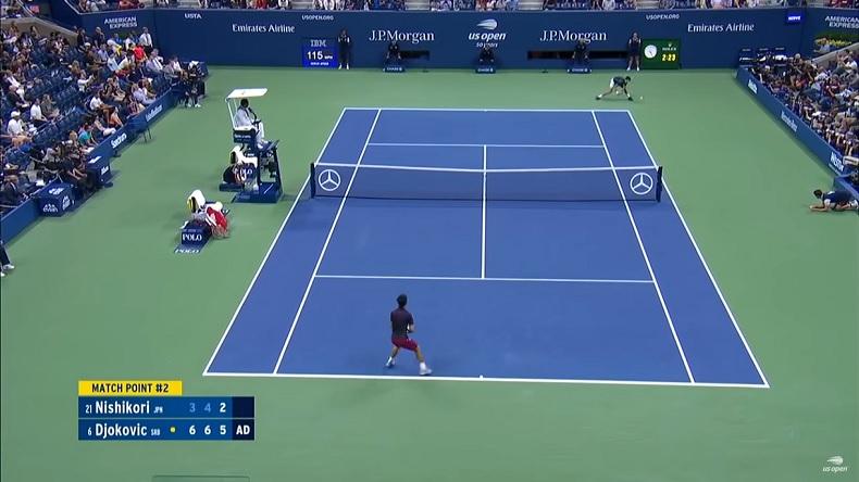 Ce revers de Novak Djokovic, sur la balle de match contre Kei Nishikori en demi-finales de l'US Open 2018, est énorme.
