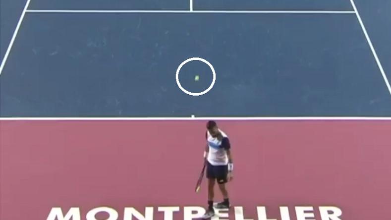 Voilà où est tombée l'amortie de Damir Dzumhur au tournoi de Montpellier 2020.