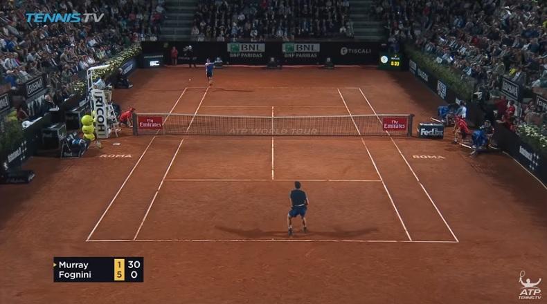 Fabio Fognini, en feu, met un tarif à Andy Murray (Rome 2017)