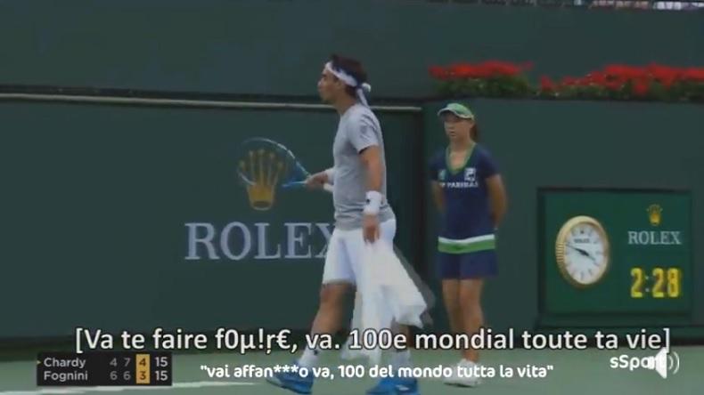 Les mots doux de Fabio Fognini sur Jérémy Chardy en plein match à Indian Wells.
