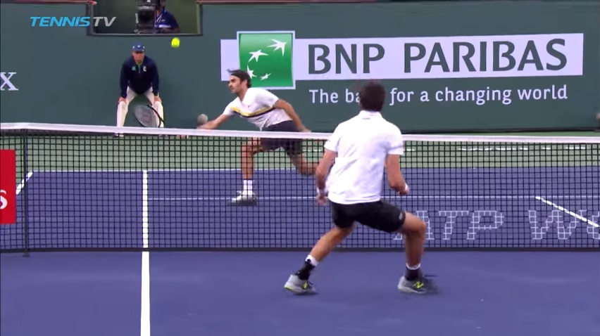 Un point superbe entre Federer et Chardy à Indian Wells.